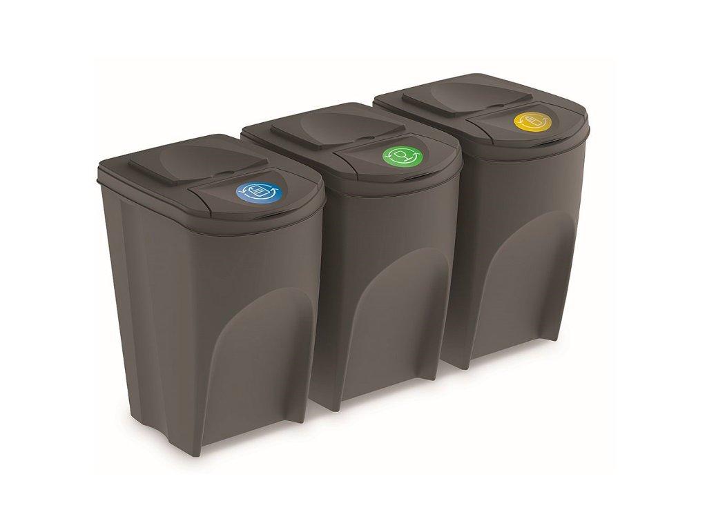 Sada 3 odpadkových košů SORTIBOX šedý kámen, objem 3x35L