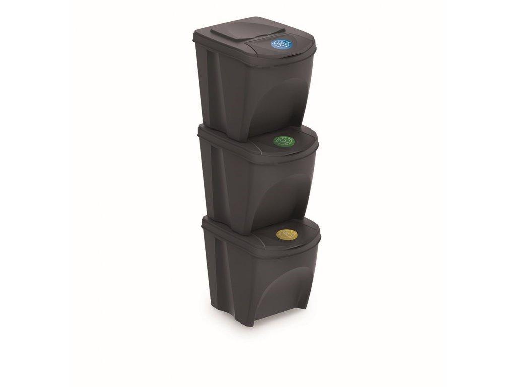 Sada 3 odpadkových košů SORTIBOX antracit, objem 3x25L