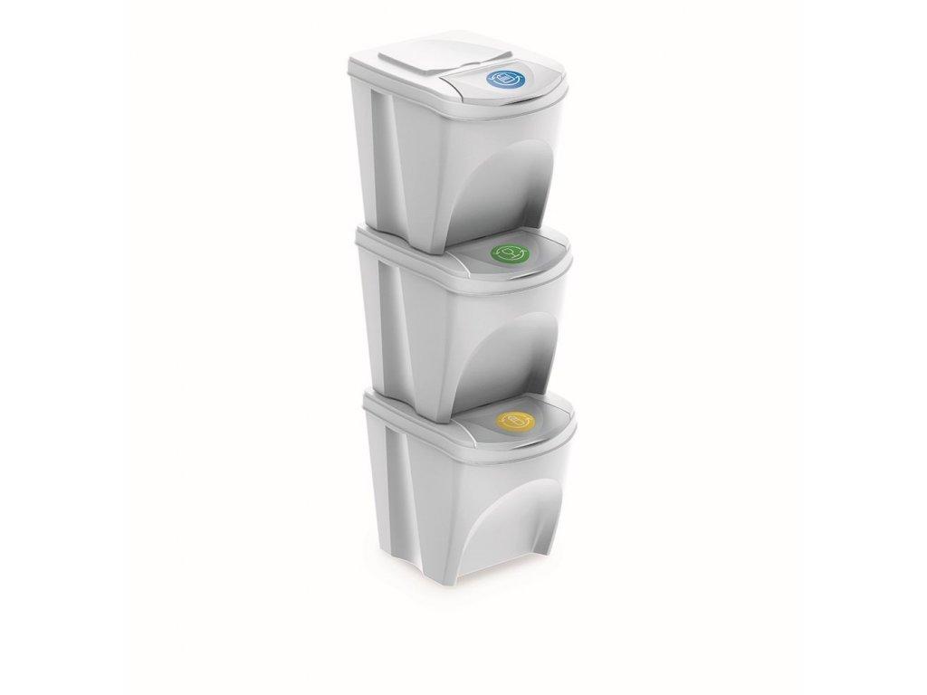sada 3 odpadkovych kosu sortibox iii bila objem 3x25l