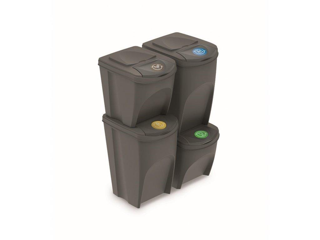 sada 4 odpadkovych kosu sortibox v sedy kamen objem 2x25l a 2x35l