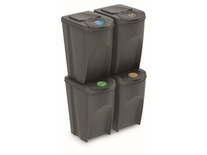 Sada 4 odpadkových košů SORTIBOX IV šedý, objem 4x35L