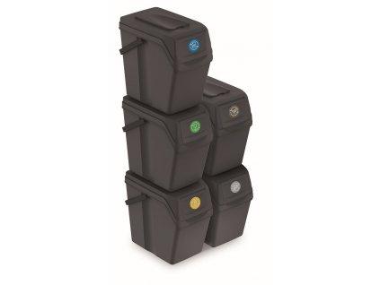 Sada 5 odpadkových košů SORTIBOX II antracit, objem 5x25L