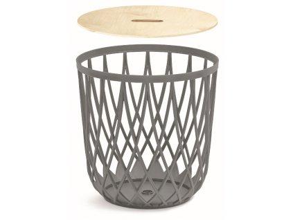 Univerzální koš UNIQUBO s dřevěným víkem šedý kámen 39,0cm