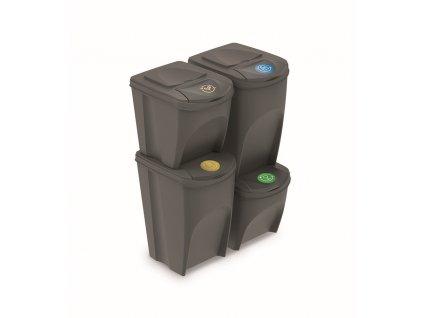 Sada 4 odpadkových košů SORTIBOX šedý kámen, objem 2x25l a 2x35l