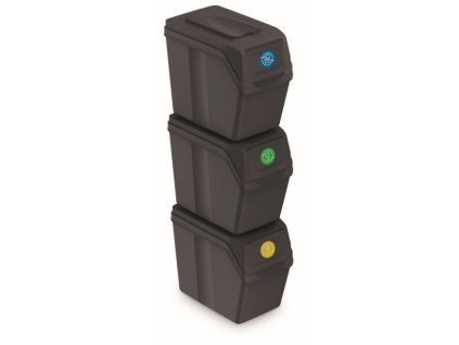 Sada 3 odpadkových košů SORTIBOX I antracit, objem 3x20L