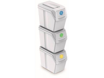 Sada 3 odpadkových košů SORTIBOX I bílá, objem 3x20L