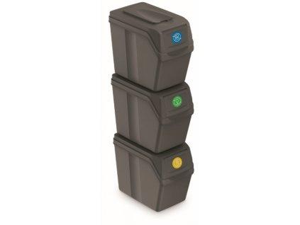 Sada 3 odpadkových košů SORTIBOX I šedý kámen, objem 3x20L