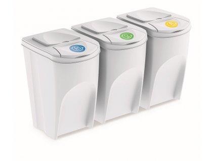 Sada 3 odpadkových košů SORTIBOX bílá, objem 3x35L