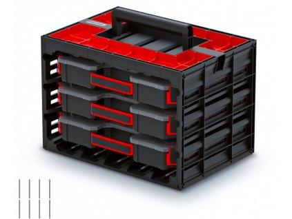 Skříňka s 3 organizéry (přepážky) TAGER CASE 415x290x290