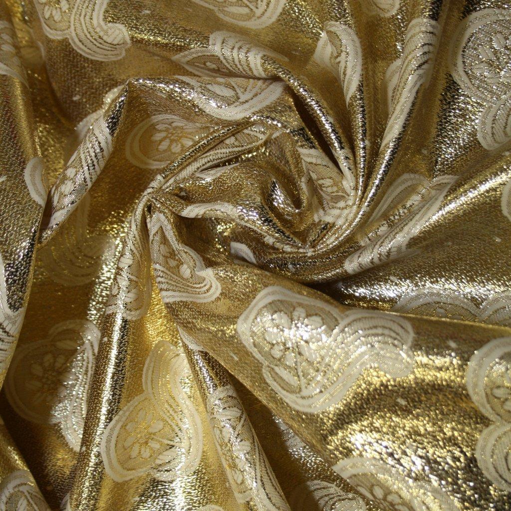 Brokát s metalickým vláknem zlatobílý s květinovým vzorem