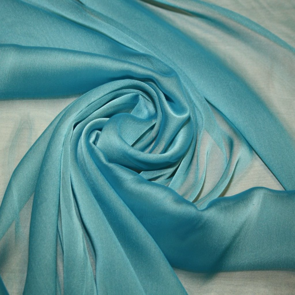 Šifon jednobarevný modrozelený