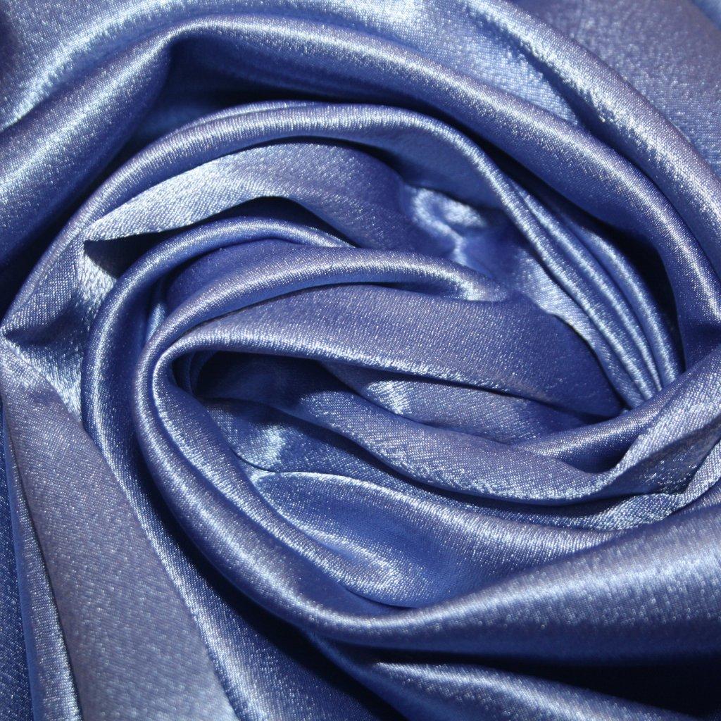 Satén krepový modrý