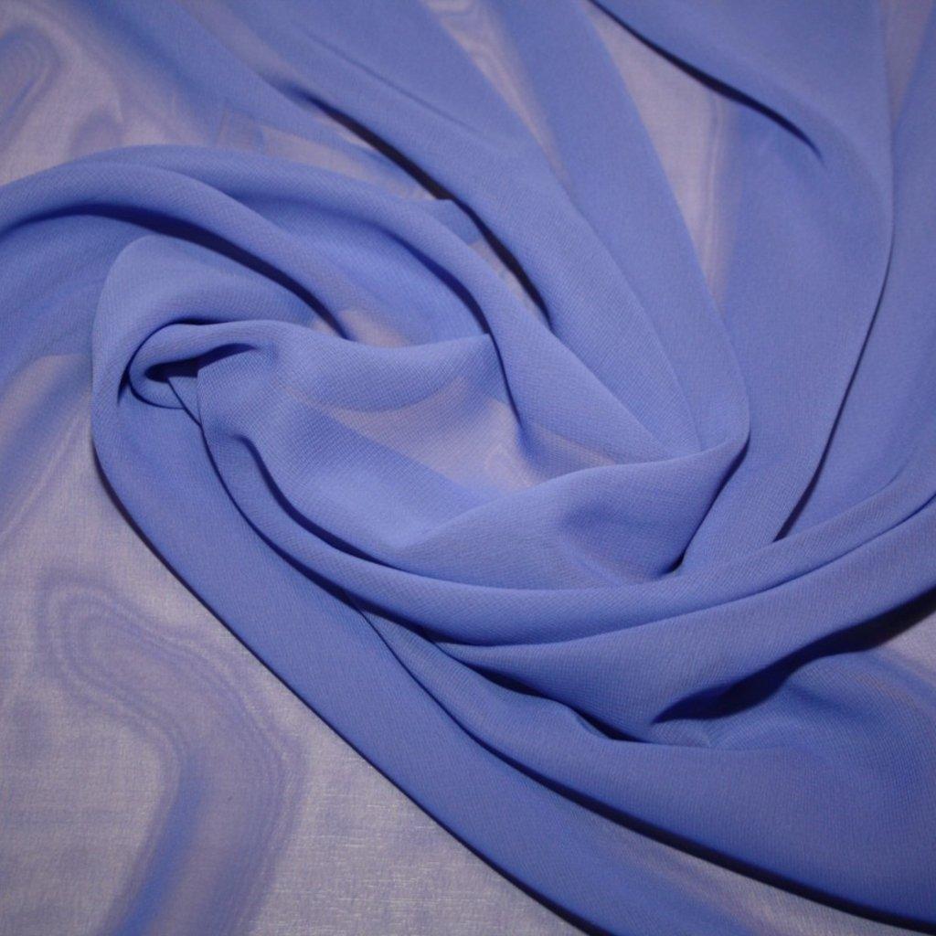 Šifon jednobarevný modrý