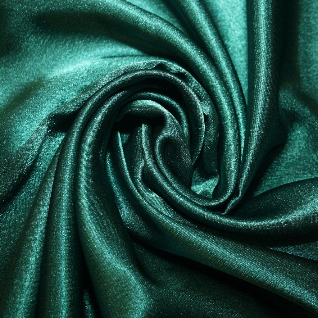 Satén krepový tmavě zelený