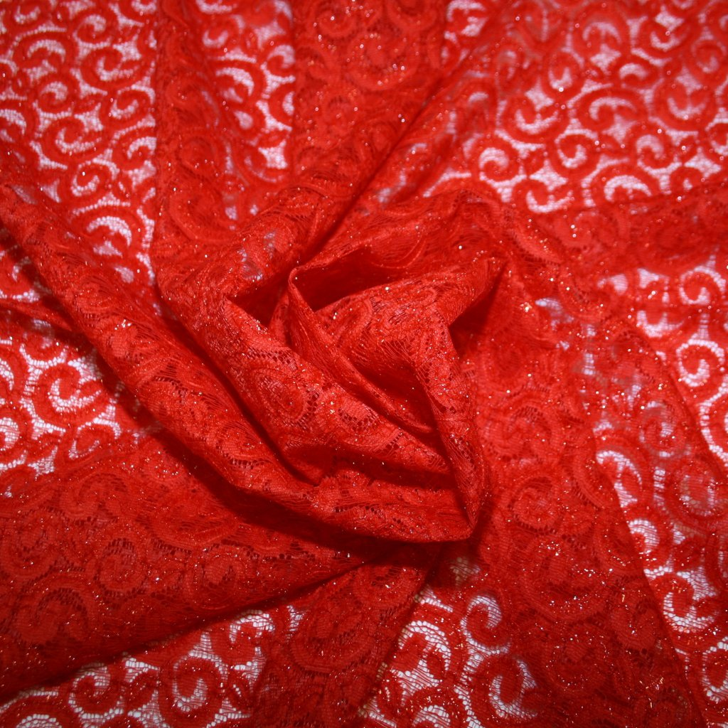 Krajka vyšívaná červená