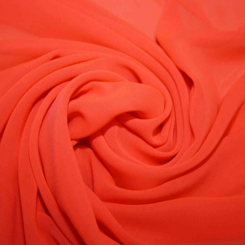 Šifon jednobarevný neonově oranžový