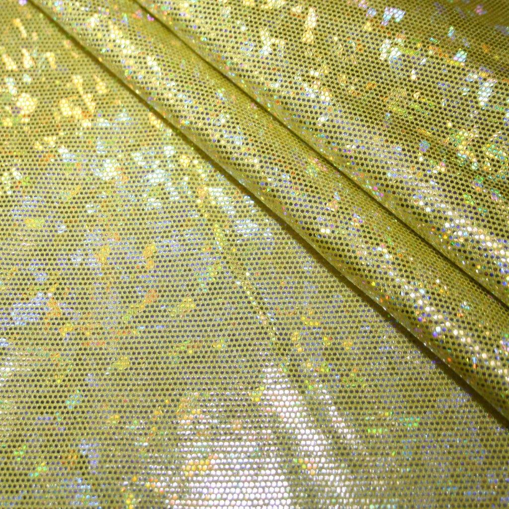 Lycra s lesklou úpravou žlutá s hologramem