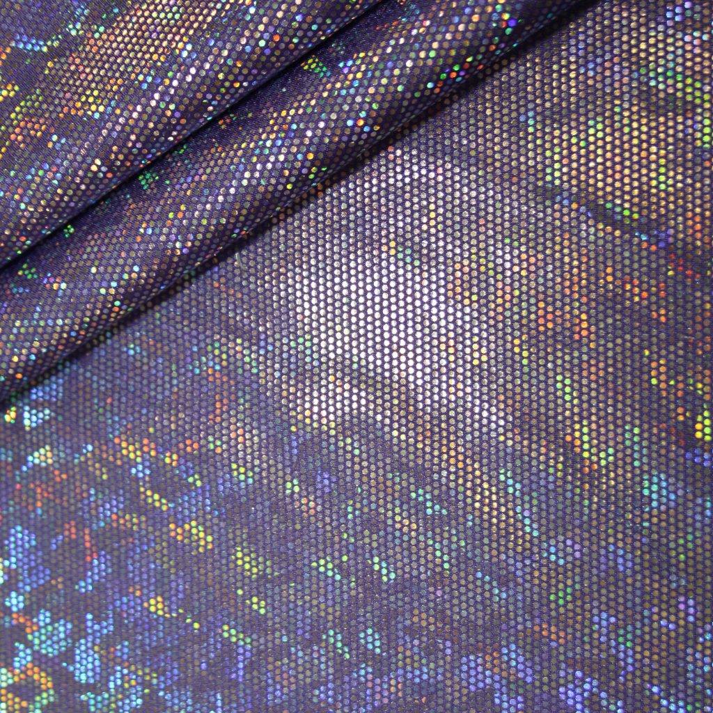Lycra s lesklou úpravou fialová s hologramem