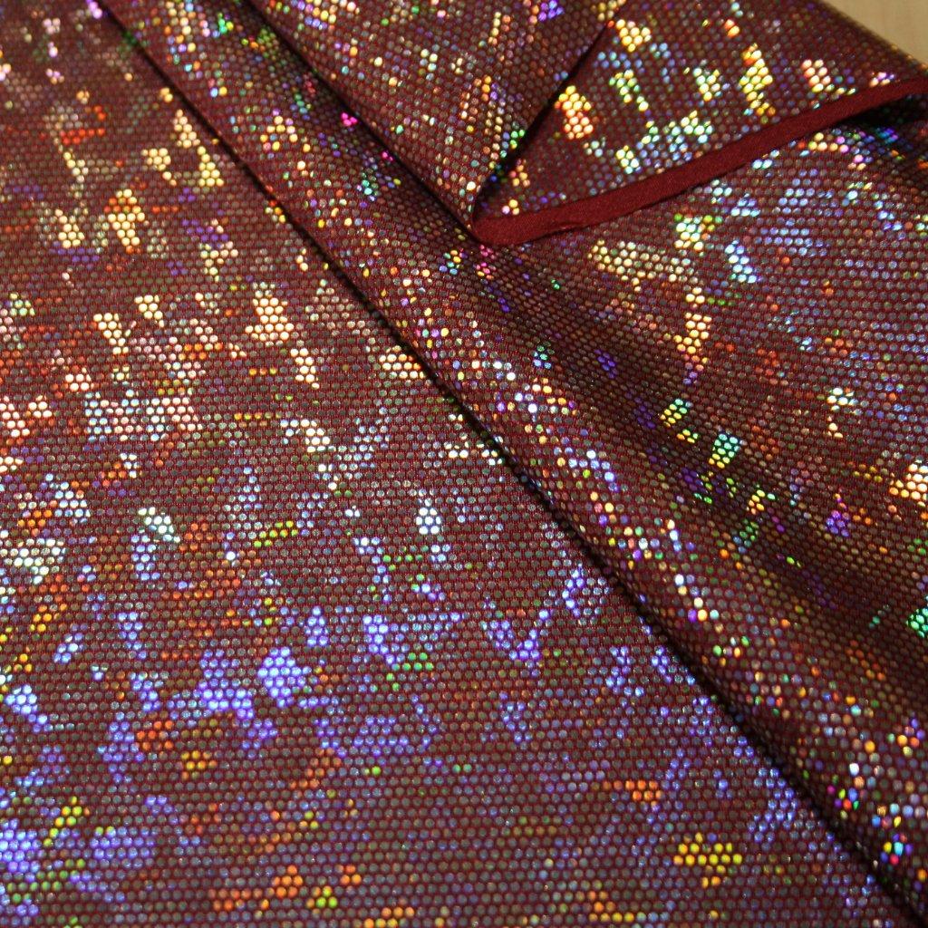 Lycra s lesklou úpravou tmavě fialová s hologramem