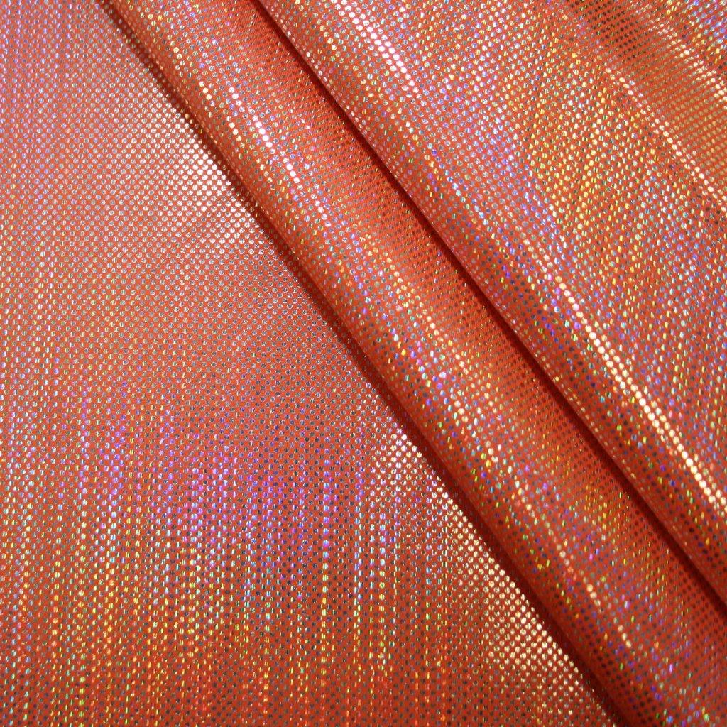 Lycra s lesklou úpravou oranžová s hologramem