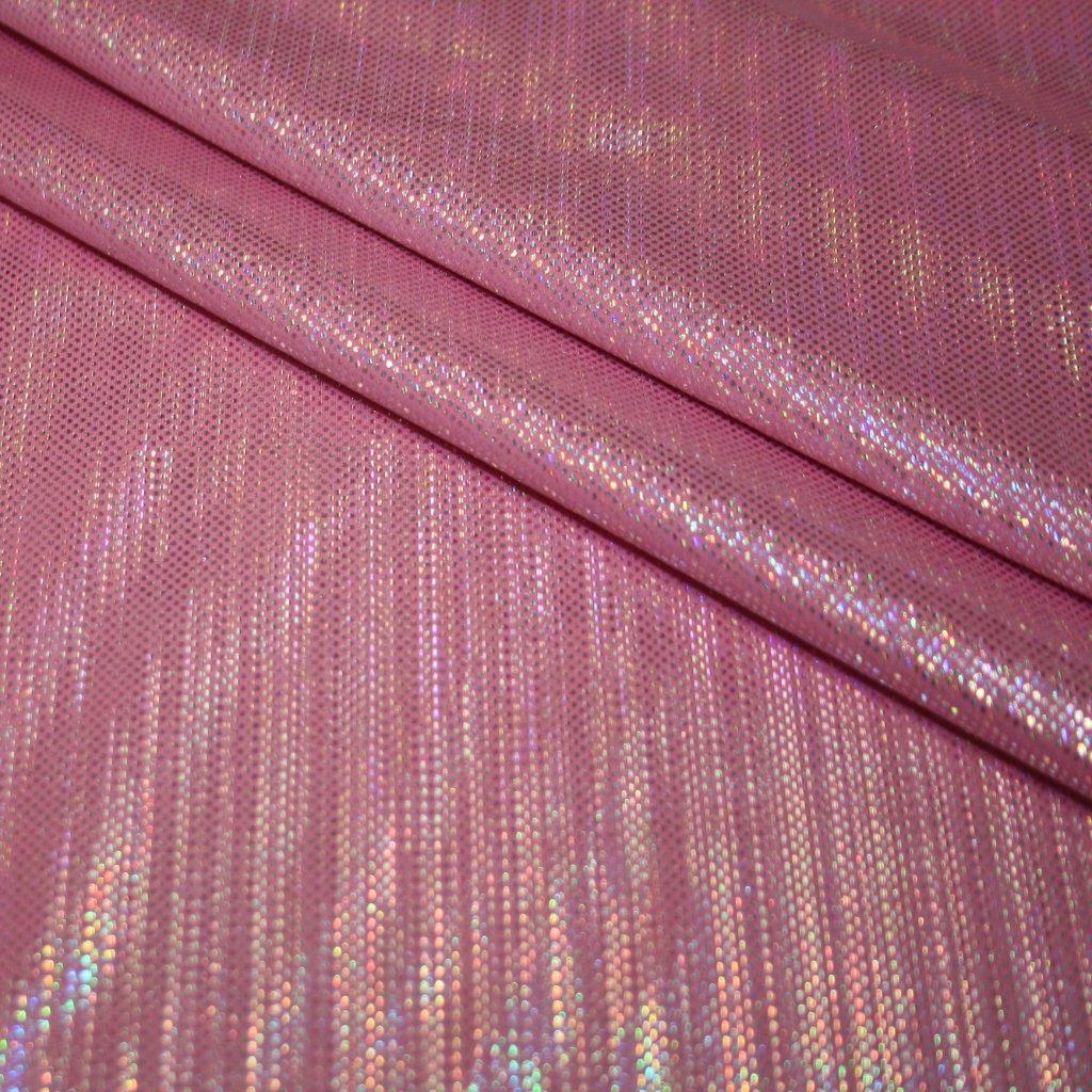 Lycra s lesklou úpravou růžová s hologramem