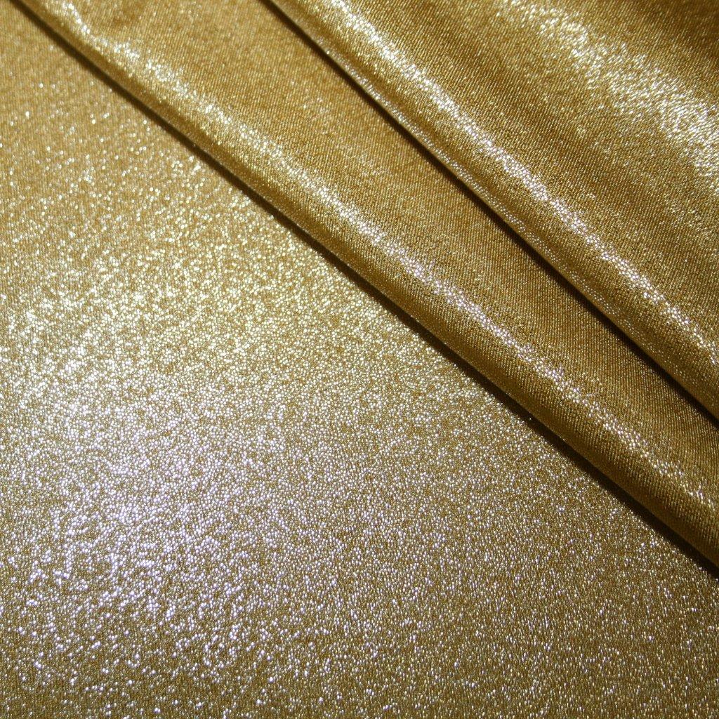 Lycra s lesklou úpravou tmavě zlatá