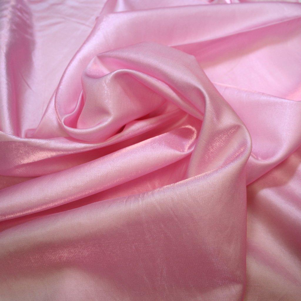 Taft lesklý hladký růžový