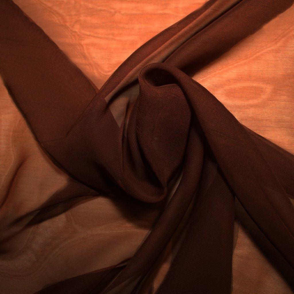 Šifon tmavě hnědý úzký
