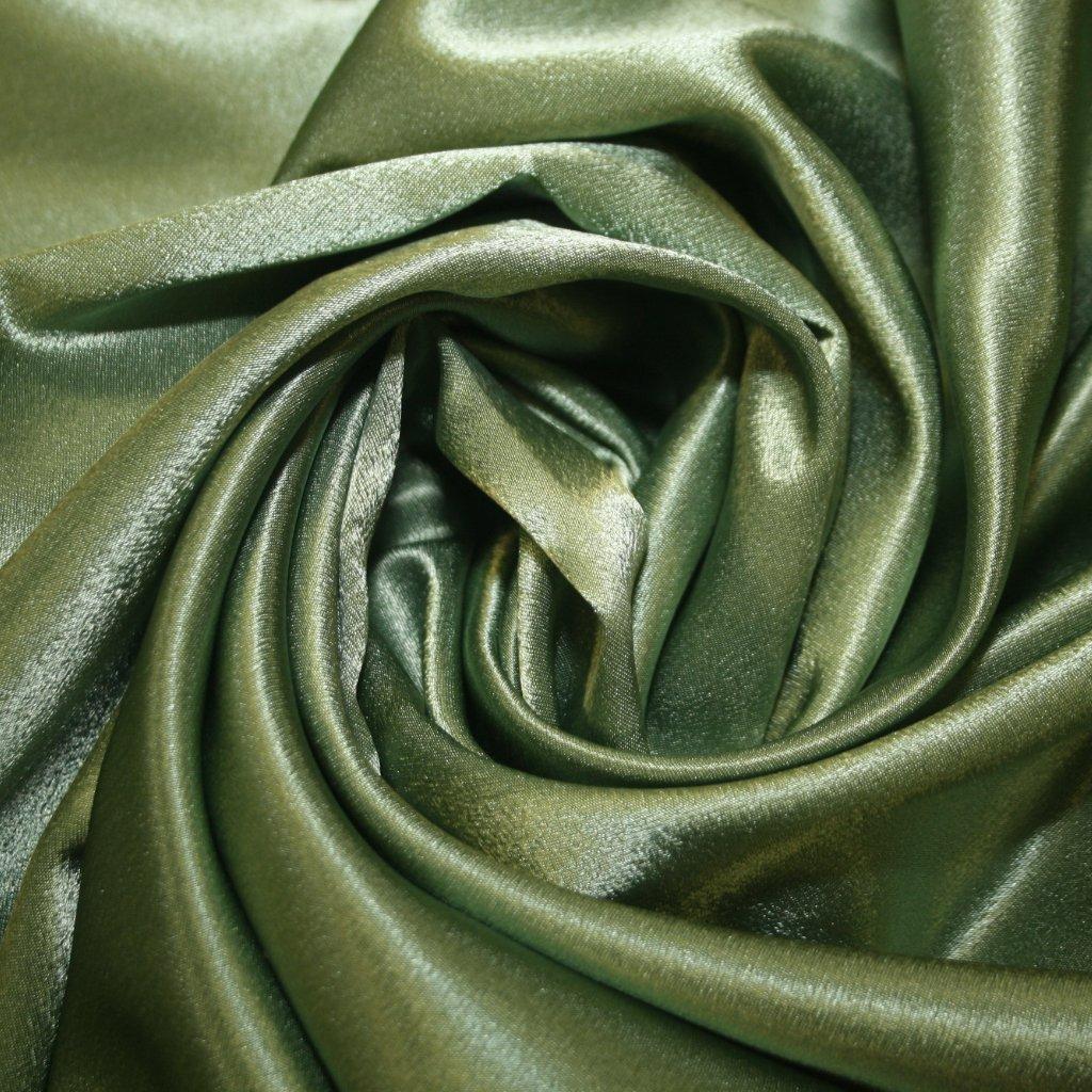 Satén krepový zelený