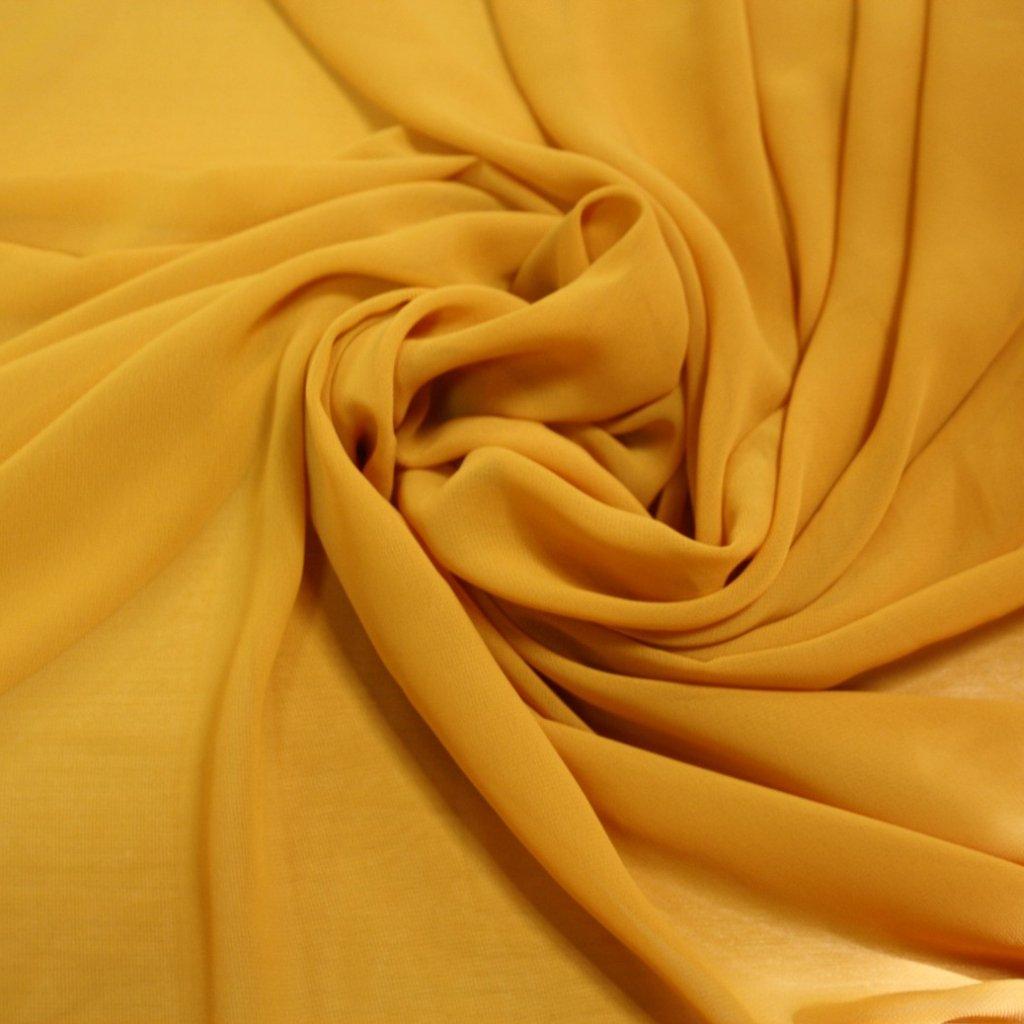 Šifon jednobarevný žlutý