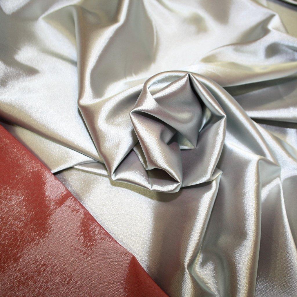 Taft oboustranný strečový z jedné strany šedý z druhé cihlový
