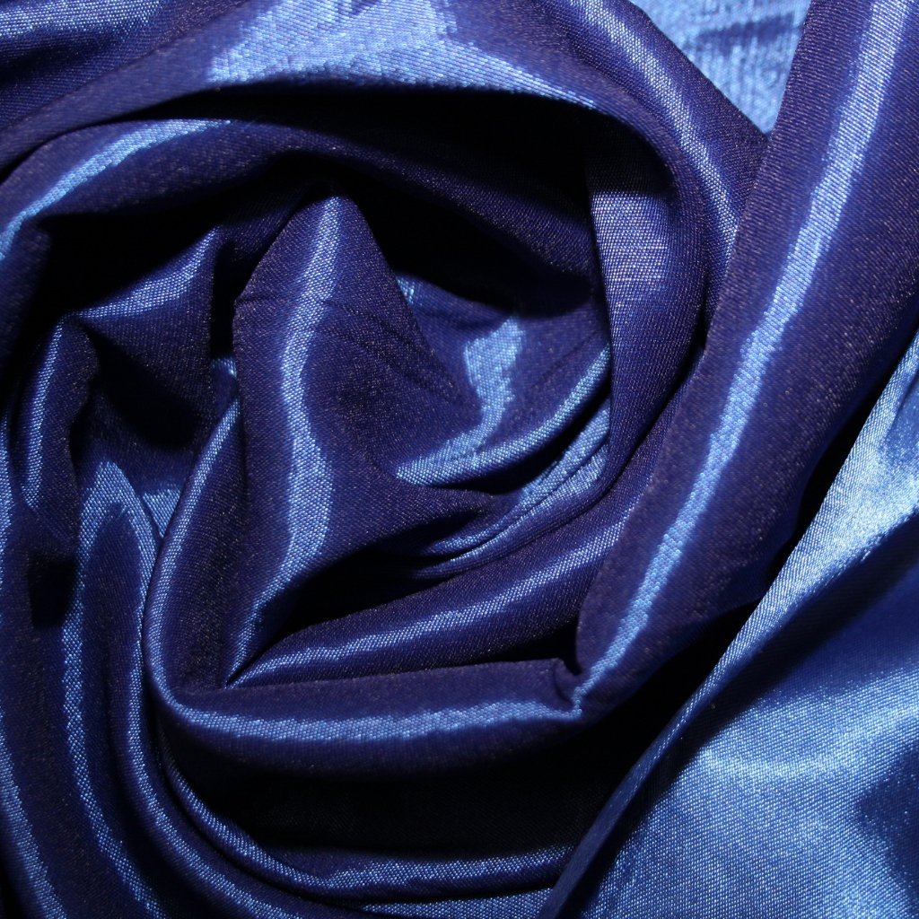 Satén strečový modrý
