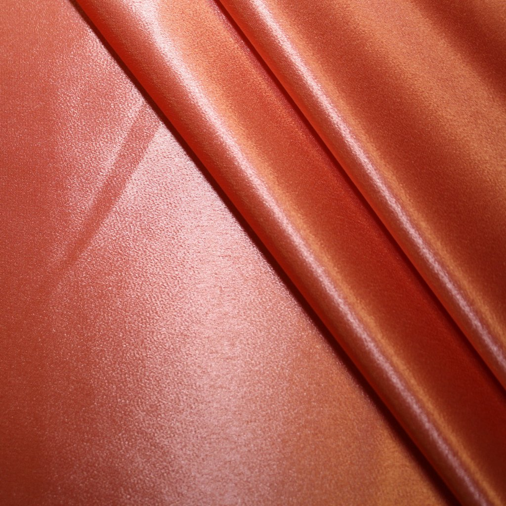 Satén strečový strečový tmavě oranžový