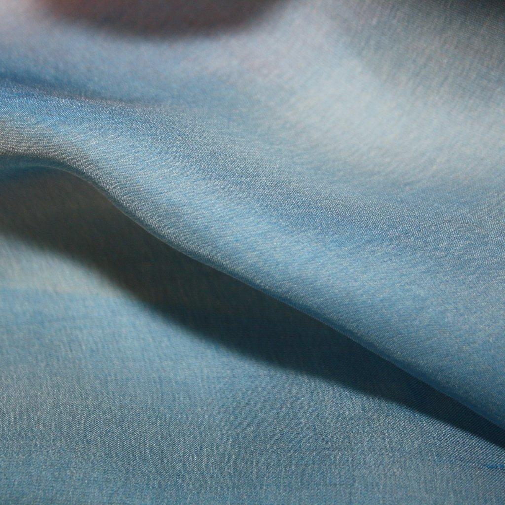 Hedvábí pravé šífónové jednobarevné modré