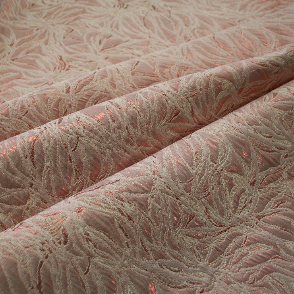 Brokát s metalickým vláknem růžovosmetanový