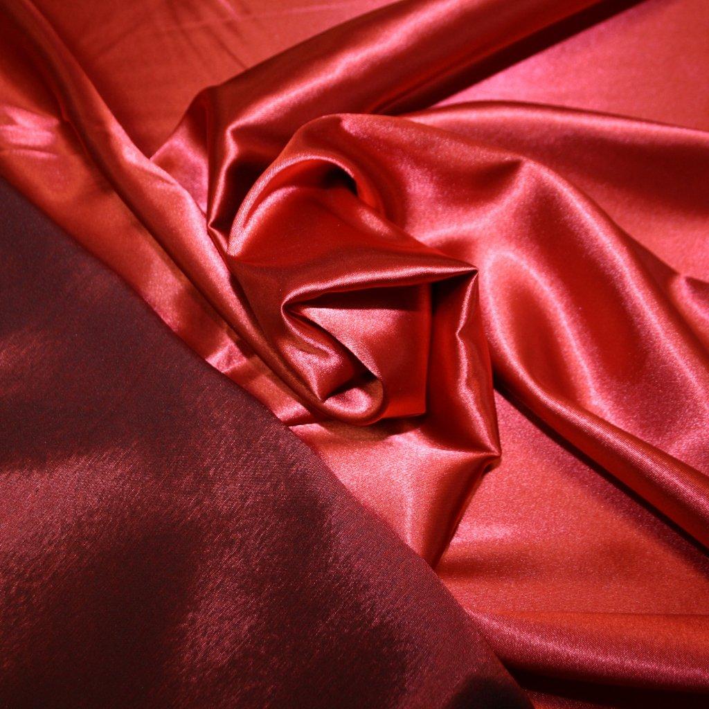 Taft oboustranný strečový červený
