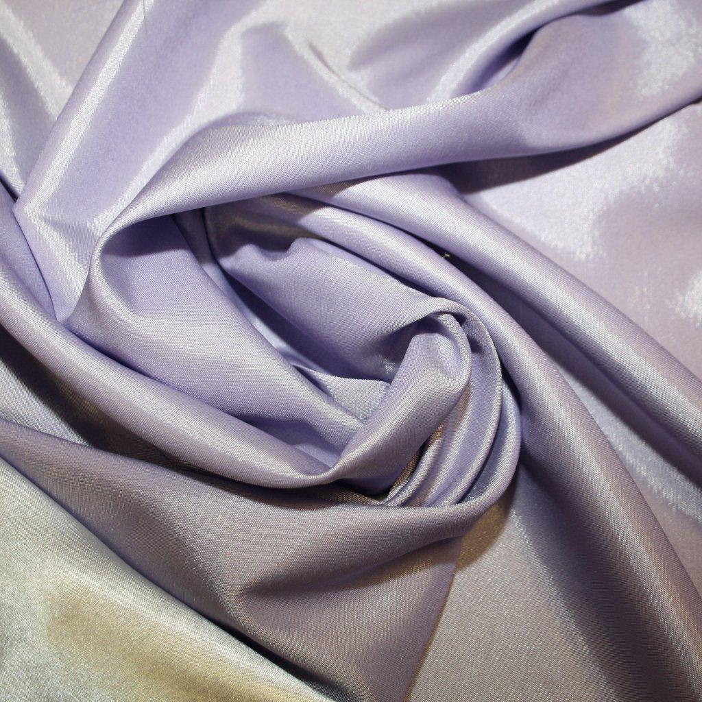 Taft oboustranný strečový světle fialový