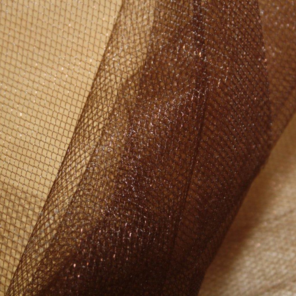 Spodničkový tyl středné silný bez lesku hnědý