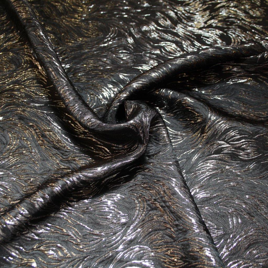 Brokát s metalickým vláknem stříbrnočerný