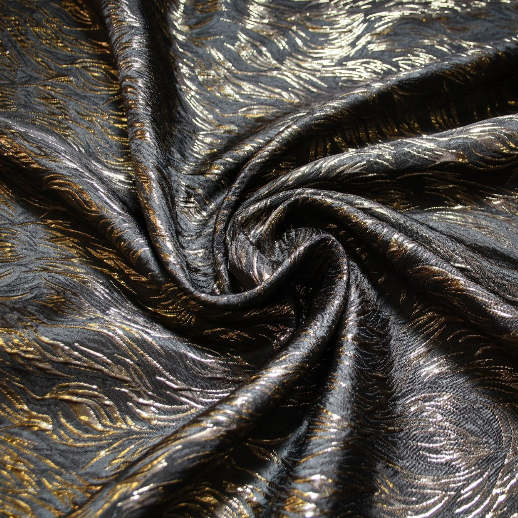 Brokát s metalickým vláknem černozlatý