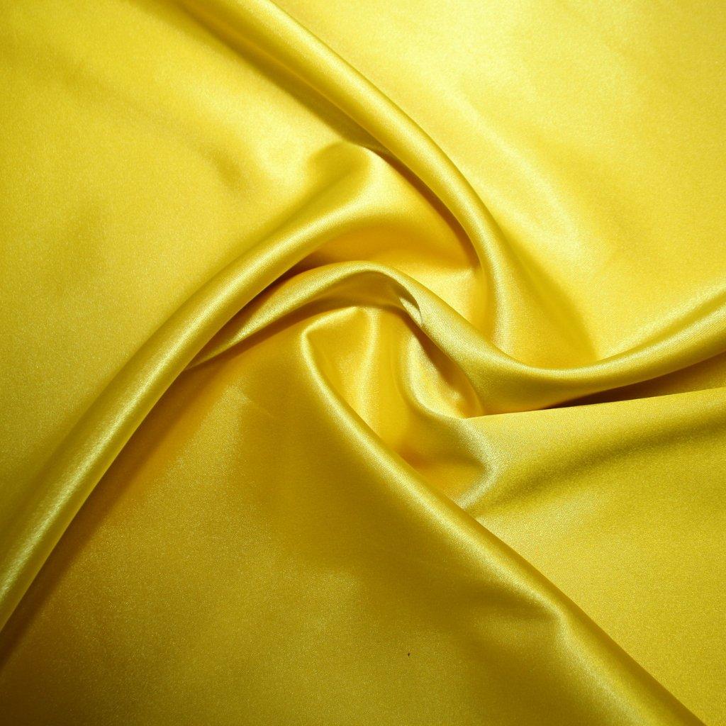 Satén strečový žlutý