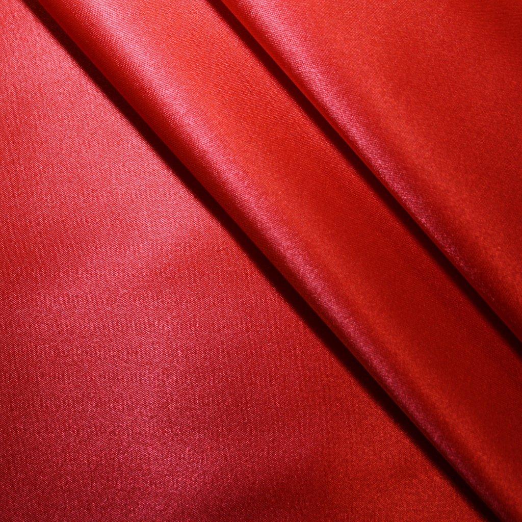 Satén strečový červený