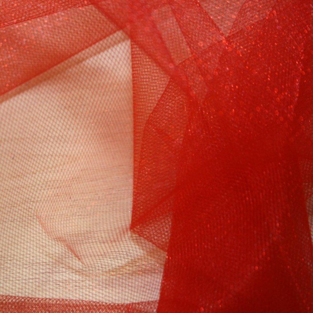 Spodničkový tyl středné silný lesklý červený