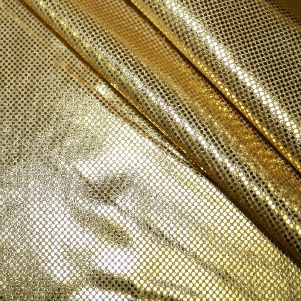 Lycra s lesklou úpravou zlatá