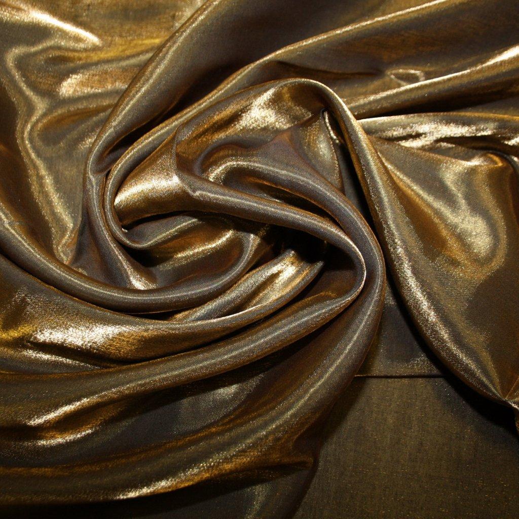 Taft lesklý hladký tmavě zlatý