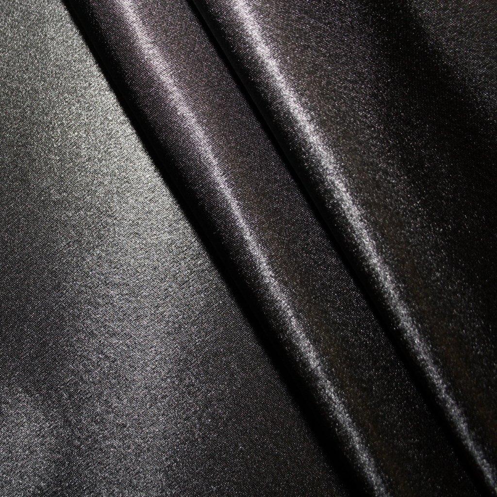 Satén krepový černý