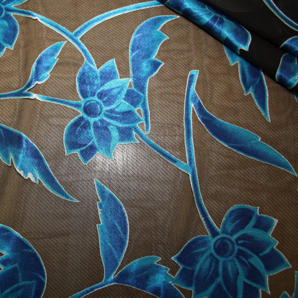 Látka s potiskem polyestrová modrá