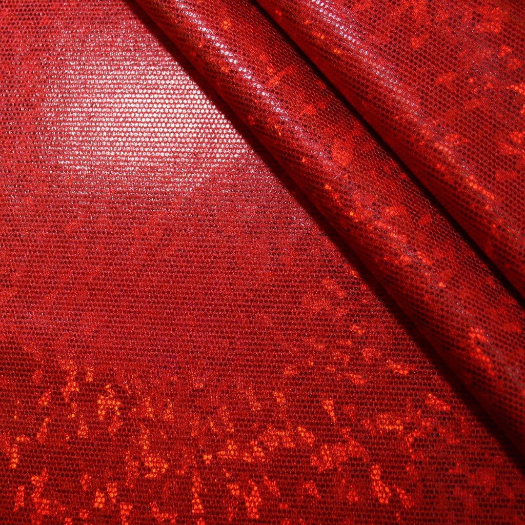 Lycra s lesklou úpravou červená s hologramem