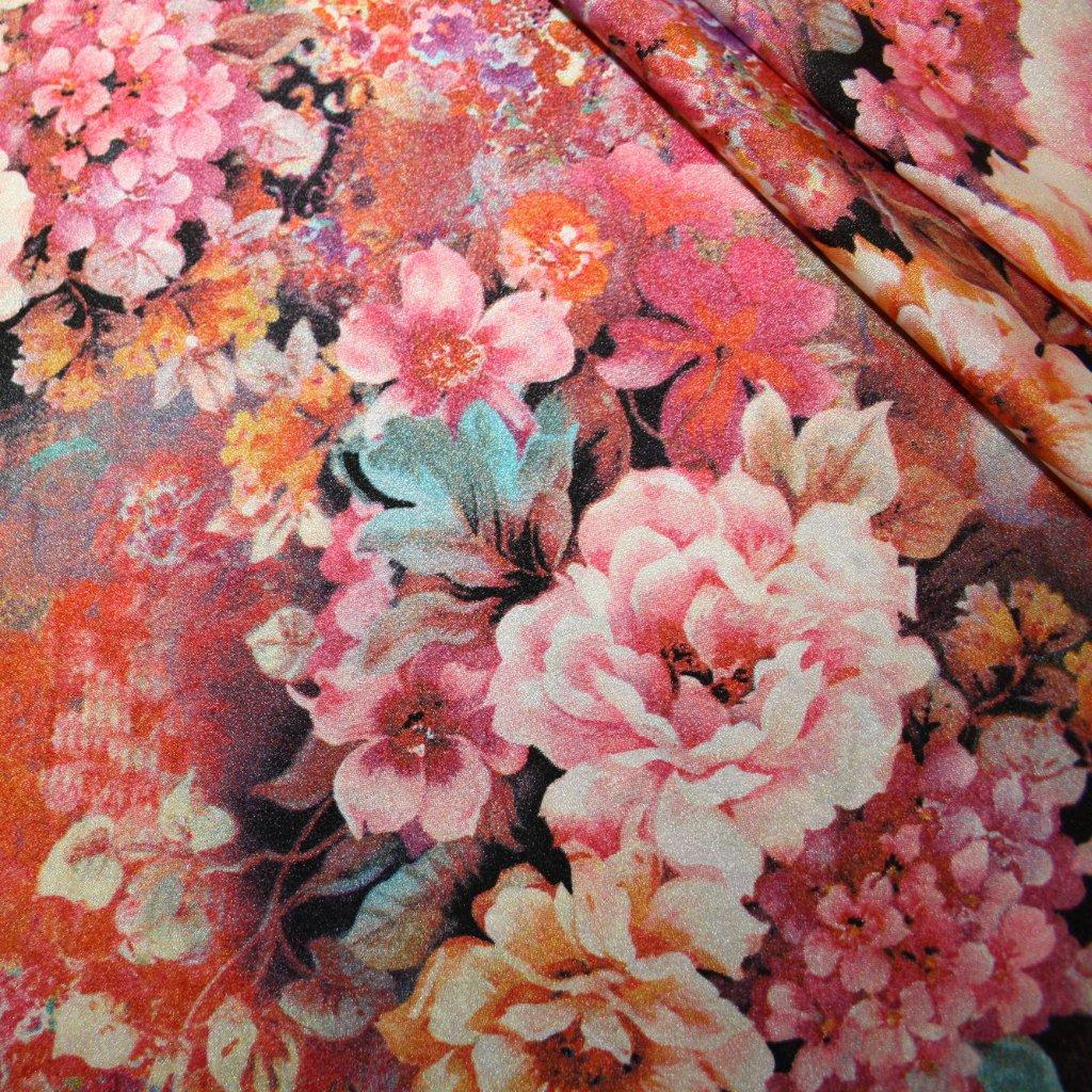 Látka s potiskem polyestrová růžová