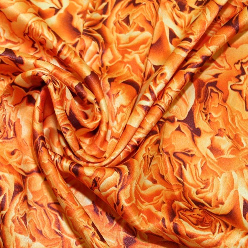 Polyester jemný se vzorem růží v oranžové barvě
